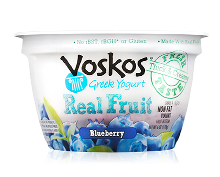 Voskos Fruit on the Bottom Blueberry 6oz Greek Yogurt
