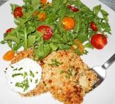 Crispy Cauliflower Cakes with Yogurt Herb Sauce and Arugula Salad Recipe