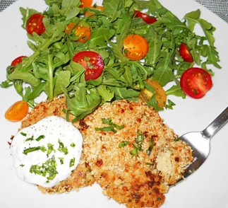 Crispy Cauliflower Cakes with Yogurt Herb Sauce and Arugula Salad Recipe