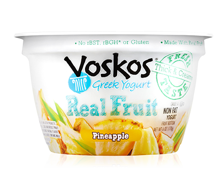 Voskos Fruit on the Bottom Pineapple 6oz Greek Yogurt